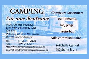 carte d'affaire Camping Lac aux Bouleaux