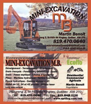 Carte d'affaire Mini-Excavation MB