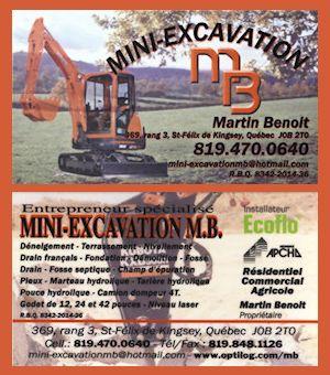 Carte d'affaire Mini-Excavation MB