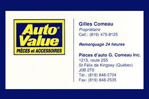 Carte d'affaire Pièces d'auto Gilles Comeau